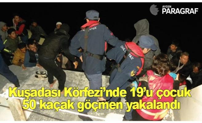 Kuşadası Körfezi'nde 19'u çocuk 50 kaçak göçmen yakalandı