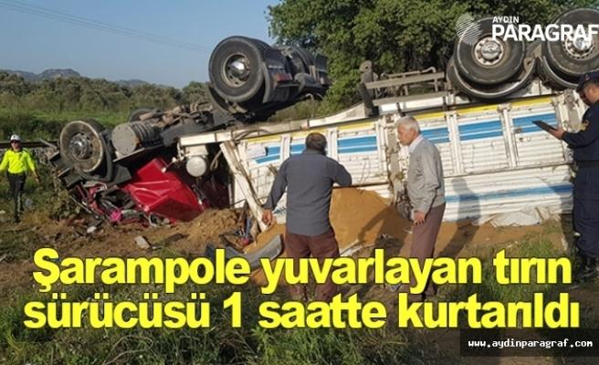 Şarampole yuvarlayan tırın sürücüsü 1 saatte kurtarıldı