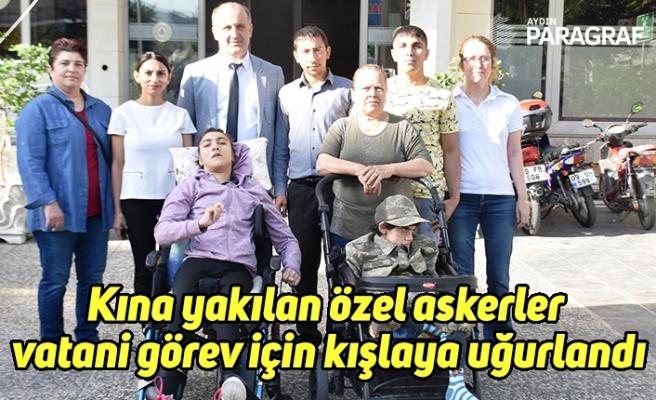 Kına yakılan özel askerler vatani görev için kışlaya uğurlandı