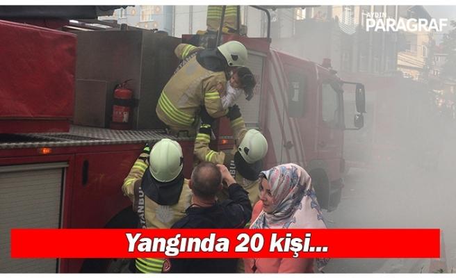 Yangında 20 kişi mahsur kaldı