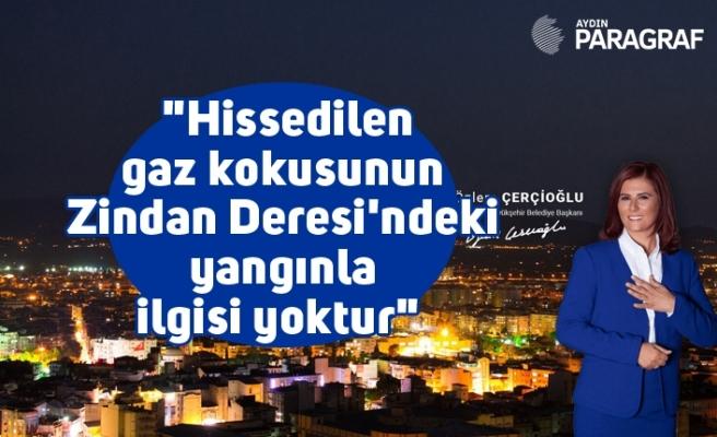 """Büyükşehir Belediye Başkanı Çerçioğlu; """"Hissedilen gaz kokusunun Zindan Deresi'ndeki yangınla ilgisi yoktur"""""""