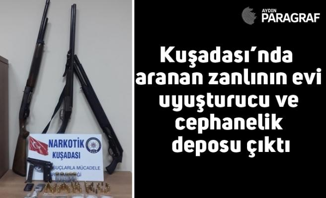 Kuşadası'nda aranan zanlının evi uyuşturucu ve cephanelik deposu çıktı