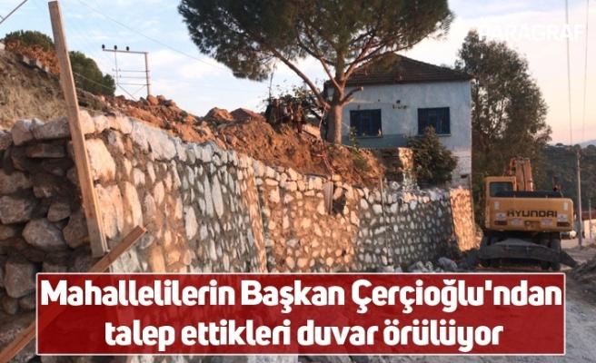 Mahallelilerin Başkan Çerçioğlu'ndan talep ettikleri duvar örülüyor