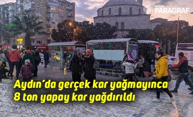 Aydın'da gerçek kar yağmayınca 8 ton yapay kar yağdırıldı