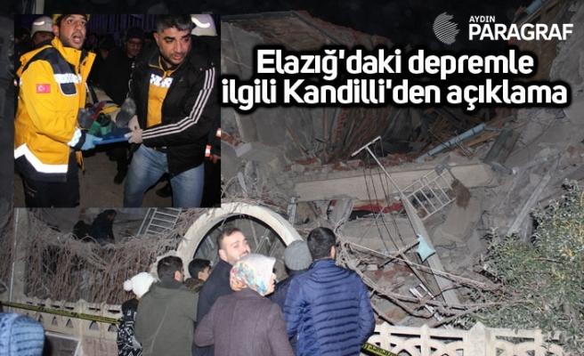 Elazığ'daki depremle ilgili Kandilli'den açıklama