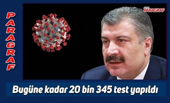 Bugüne kadar 20 bin 345 test yapıldı