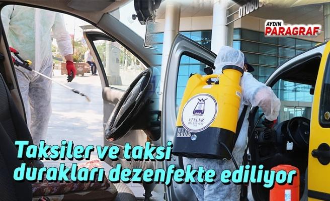 Taksiler ve taksi durakları dezenfekte ediliyor