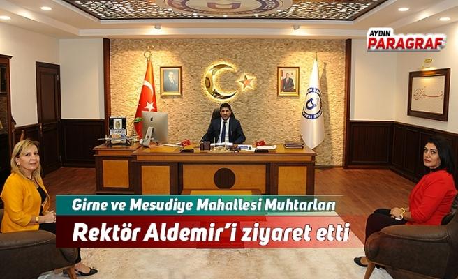 Girne ve Mesudiye Mahallesi Muhtarları Rektör Aldemir'i ziyaret etti