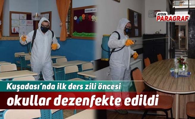 Kuşadası'nda ilk ders zili öncesi okullar dezenfekte edildi