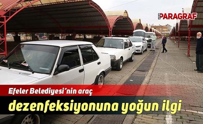 Efeler Belediyesi'nin araç dezenfeksiyonuna yoğun ilgi