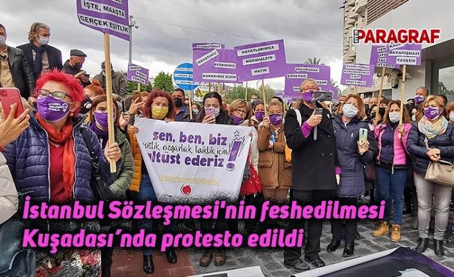 İstanbul Sözleşmesi'nin feshedilmesi Kuşadası'nda protesto edildi