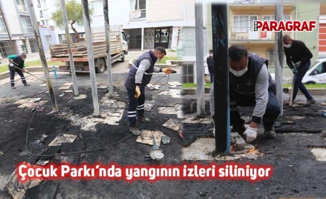 Çocuk Parkı'nda yangının izleri siliniyor