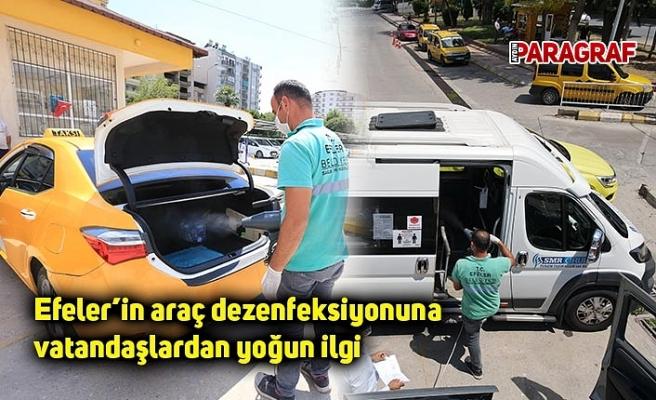 Efeler'in araç dezenfeksiyonuna vatandaşlardan yoğun ilgi
