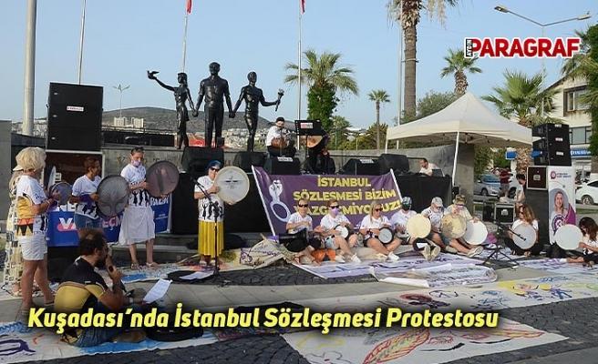 Kuşadası'nda İstanbul Sözleşmesi Protestosu