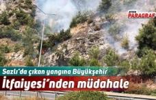 Sazlı'da çıkan yangına Büyükşehir İtfaiyesi'nden müdahale