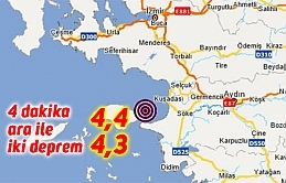 4 dakika ara ile iki deprem