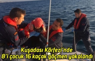 Kuşadası Körfezi'nde 8'i çocuk 16 kaçak göçmen...