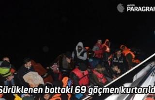 Sürüklenen bottaki 69 göçmen kurtarıldı