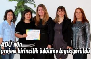 ADÜ'nün projesi birincilik ödülüne layık görüldü
