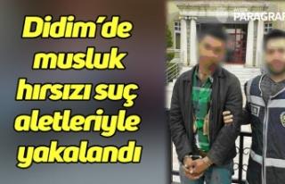 Didim'de musluk hırsızı suç aletleriyle yakalandı