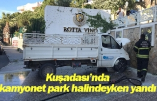 Kuşadası'nda kamyonet park halindeyken yandı