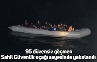 95 düzensiz göçmen Sahil Güvenlik uçağı sayesinde...