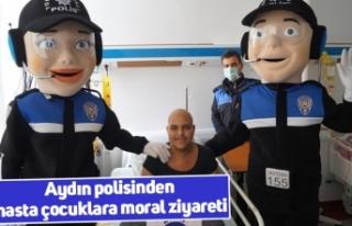 Aydın polisinden hasta çocuklara moral ziyareti
