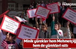 Minik yürekler hem Mehmetçiği hem de yürekleri...