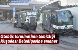 Otobüs terminalinin temizliği Kuşadası Belediyesine...