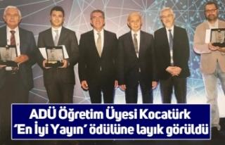 ADÜ Öğretim Üyesi Kocatürk 'En İyi Yayın'...