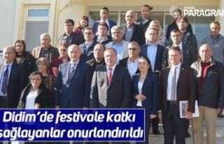 Didim'de festivale katkı sağlayanlar onurlandırıldı