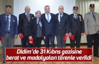 Didim'de 31 Kıbrıs gazisine berat ve madalyaları...