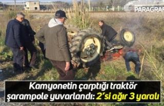 Kamyonetin çarptığı traktör şarampole yuvarlandı:...