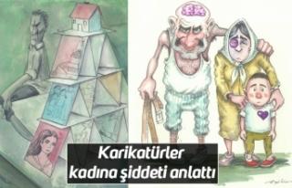 Karikatürler kadına şiddeti anlattı
