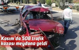 Kasım ayında 508 trafik kazası meydana geldi