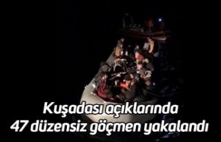 Kuşadası açıklarında 47 düzensiz göçmen yakalandı