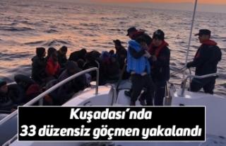 Kuşadası'nda 33 düzensiz göçmen yakalandı