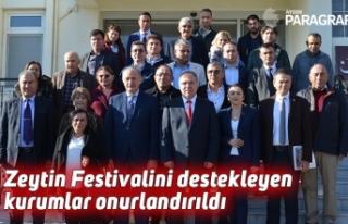 Zeytin Festivalini destekleyen kurumlar onurlandırıldı