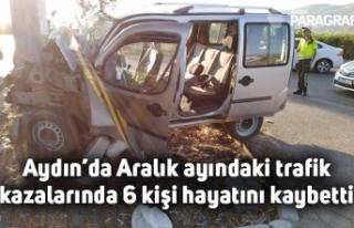 Aydın'da Aralık ayındaki trafik kazalarında...