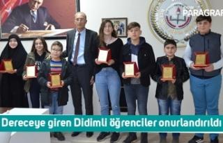 Dereceye giren Didimli öğrenciler onurlandırıldı