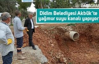Didim Belediyesi Akbük'te yağmur suyu kanalı...