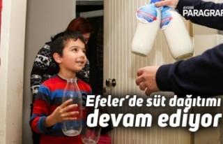 Efeler'de süt dağıtımı devam ediyor