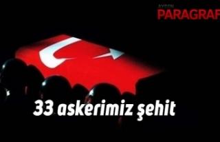 33 askerimiz şehit