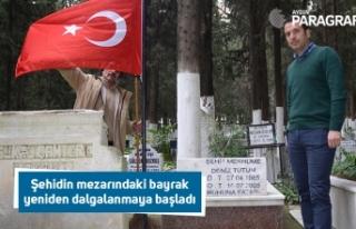Şehidin mezarındaki bayrak yeniden dalgalanmaya...