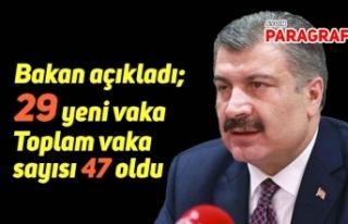 Bakan açıkladı; 29 yeni vaka ile toplam sayı 47'ye...