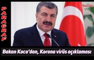 Bakan Koca'dan, Korona virüs açıklaması