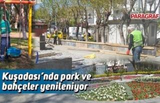 Kuşadası'nda park ve bahçeler yenileniyor