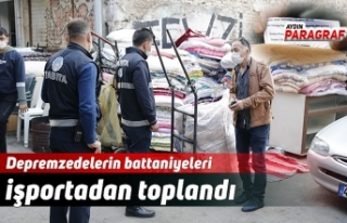Depremzedelerin battaniyeleri işportadan toplandı