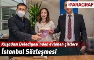 Kuşadası Belediyesi'nden evlenen çiftlere İstanbul...