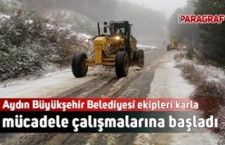 Aydın Büyükşehir Belediyesi ekipleri karla mücadele...